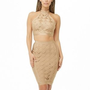 Lattice Bandage Crop Top & Skirt Set